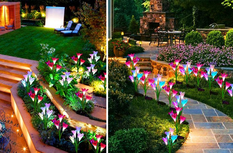 Solar-Powered Lily Flower lights
