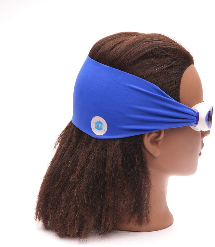 Swimming Eyewear with Protective Fabric for Hair Blue