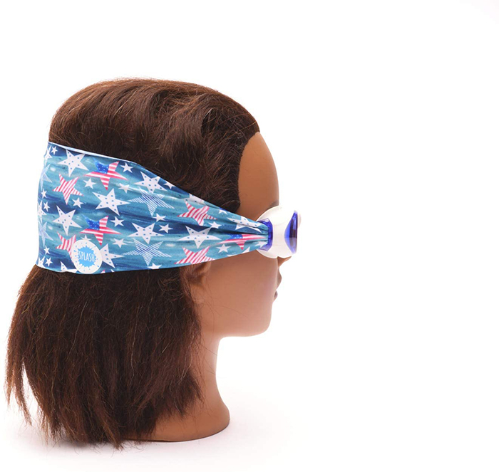 Swimming Eyewear with Protective Fabric for Hair in American Flag Print