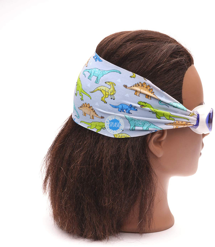 Swimming Eyewear with Protective Fabric for Hair in Dinosaur Print