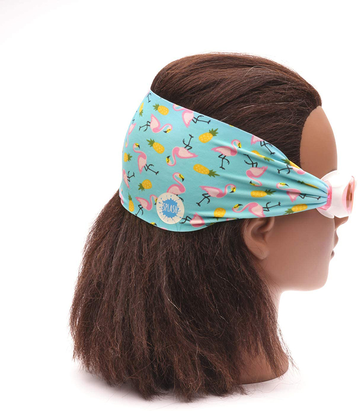 Swimming Eyewear with Protective Fabric for Hair in Flamingo and Pineapple Print