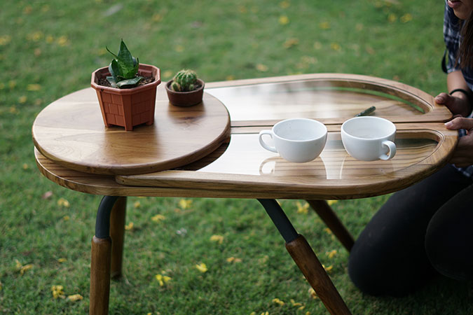beetle-inspired coffee table with unexpanded wings