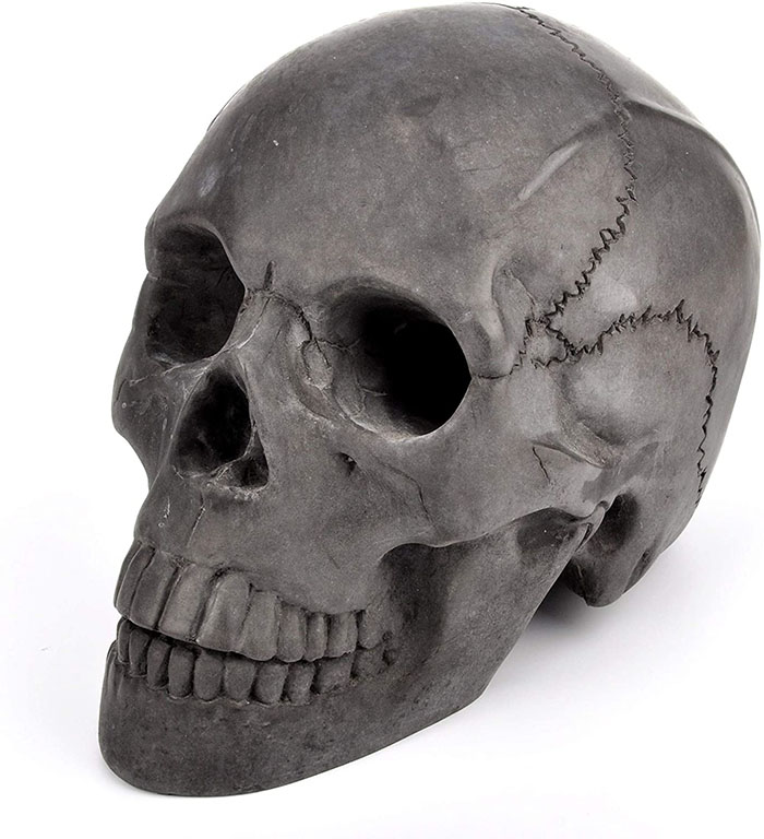 black skull with hollow eyes