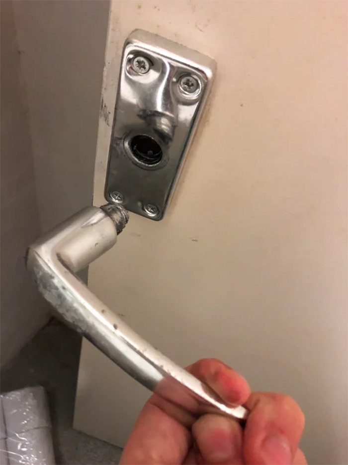 broken door knob is shocked