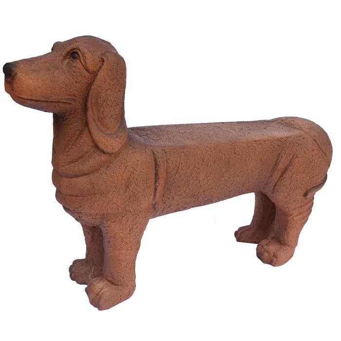 brown cast stone dachshund bench