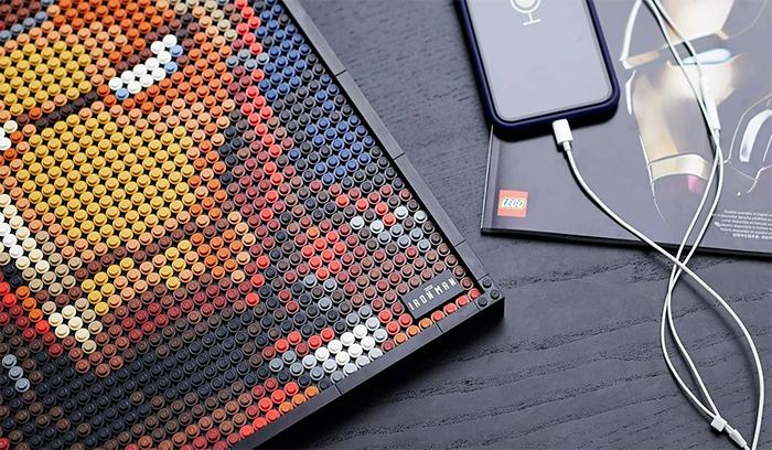 buildable mosaic portrait iron man soundtrack