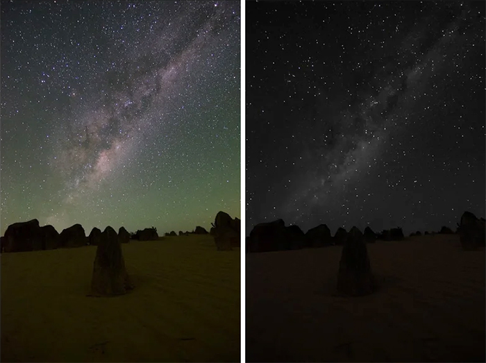 comparison images milky way night sky