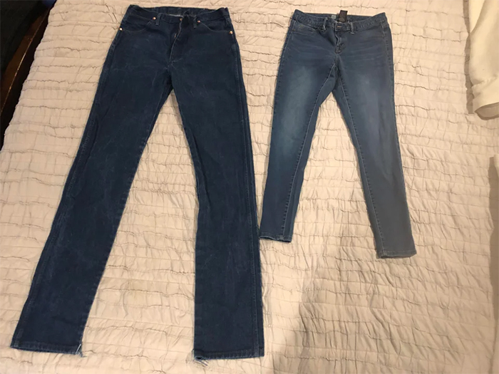 couple jeans size compared