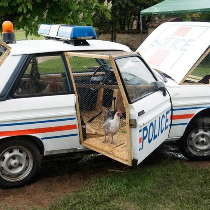 creative chicken coops repurposed police car
