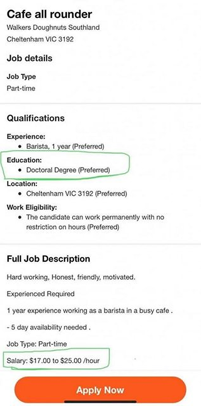doctoral degree barista applying for a job