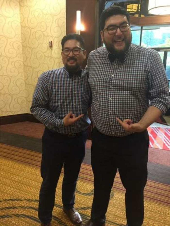 doppelgangers wear the same suit at the wedding