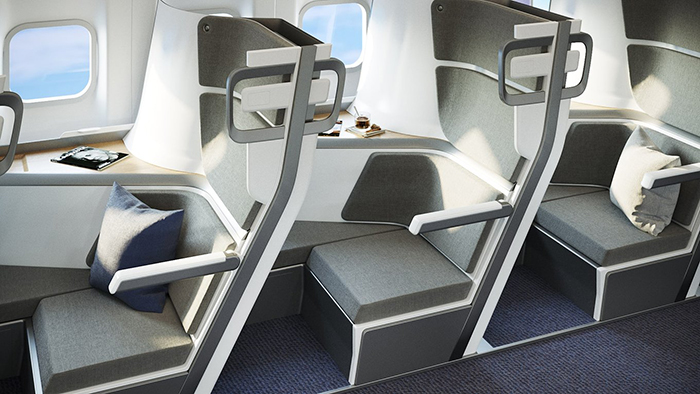 economy class plane lie-flat seat with individual cabin