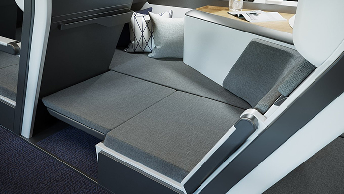 economy class plane seat with full lie-flat functionality