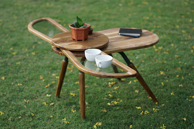 elytra the beetle-inspired coffee table with its wings fully extended