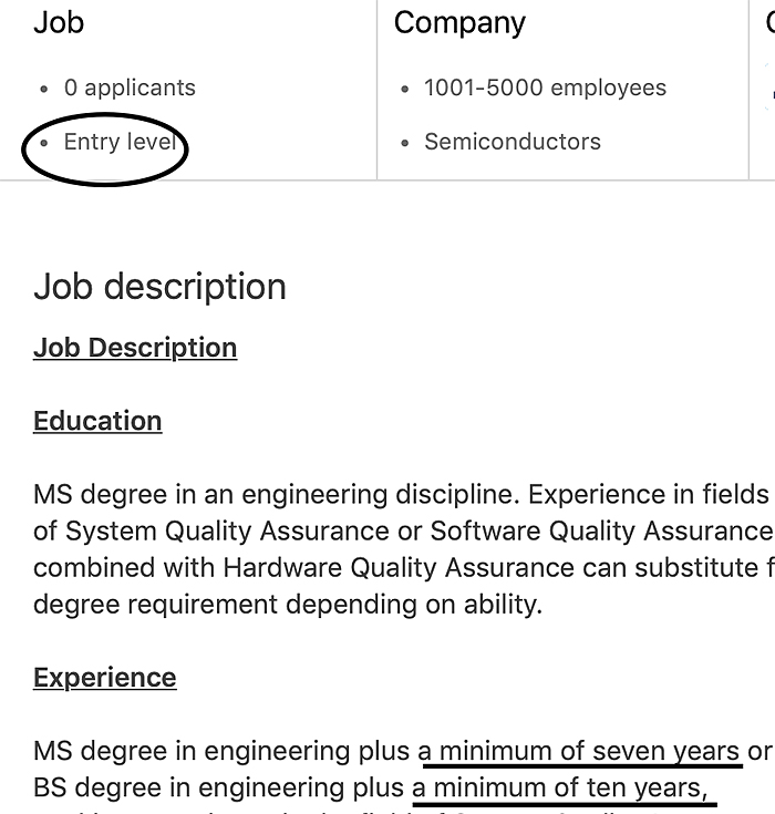 entry level job requirements applying for a job