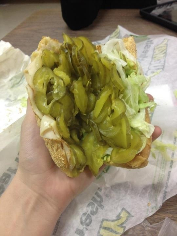extra pickles taken too literally