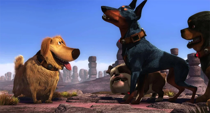 film trivia disney up dug hunter dog