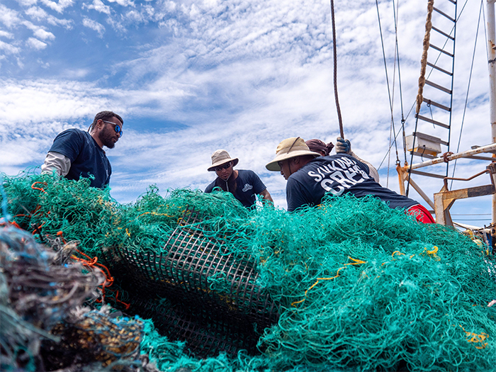 floating fishing nets removed from the sea