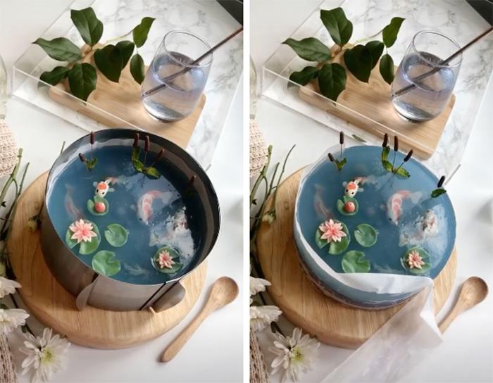 grace petichoro koi pond transparent cake