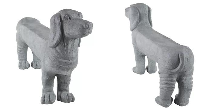grey polystone dachshund bench