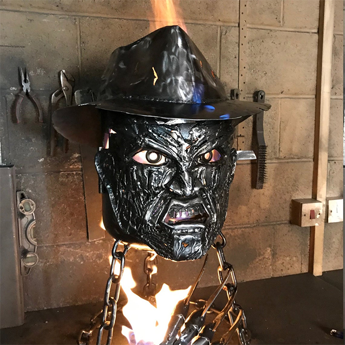halloween-inspired mild steel wood burner