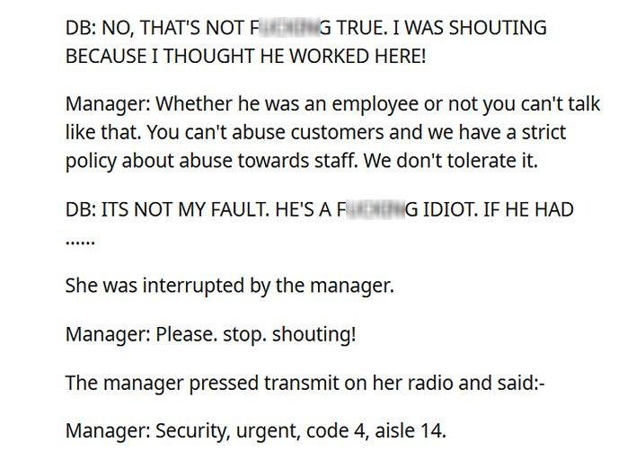 karen mistakes a customer for an employee