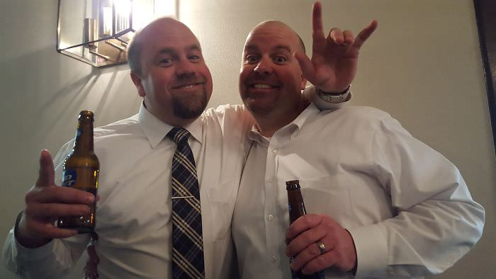lookalikes at a beer party