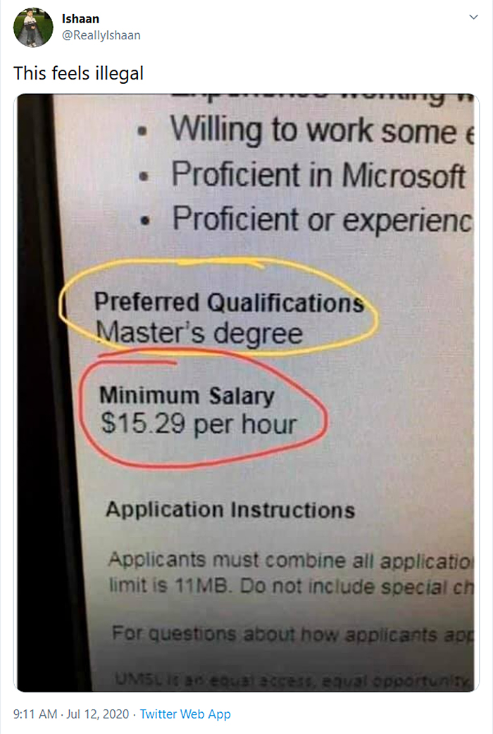 low pay for masters degree applying for a job
