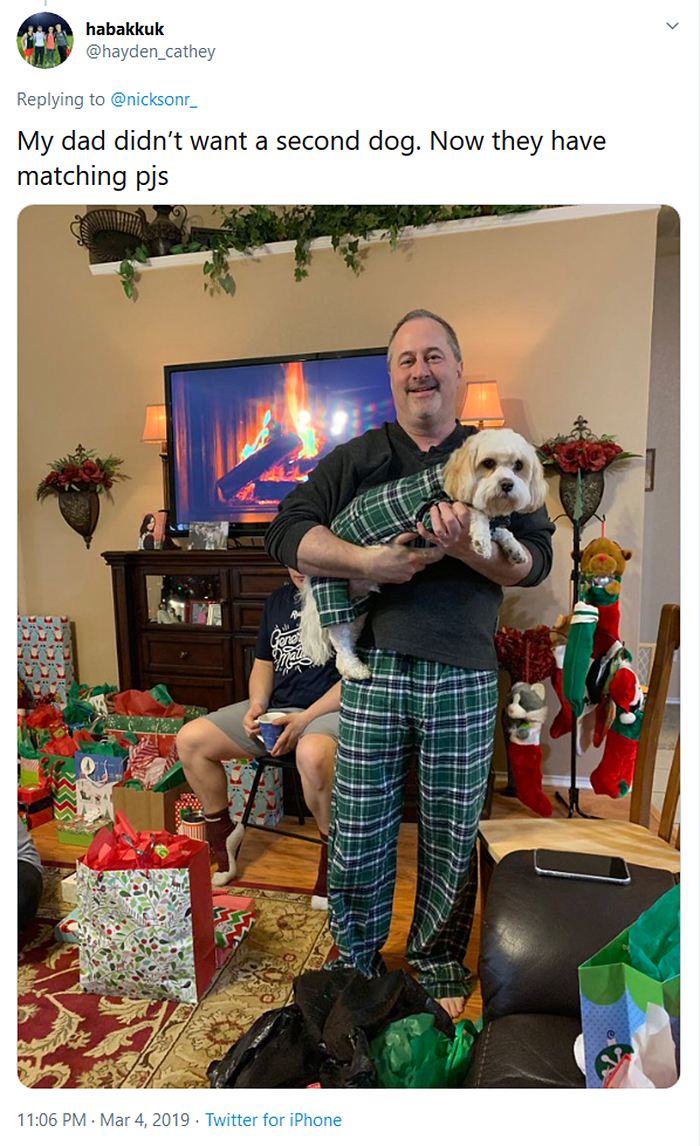 man and dog with matching pajamas