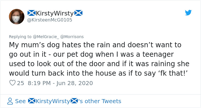 man shields dog from rain viral post comment kirsty