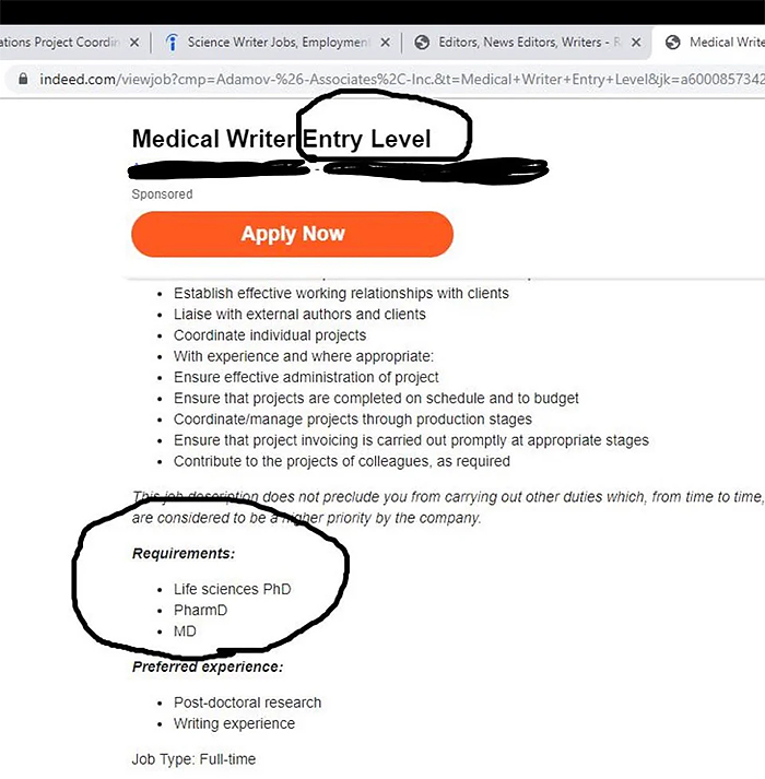 medical writer entry level requirements