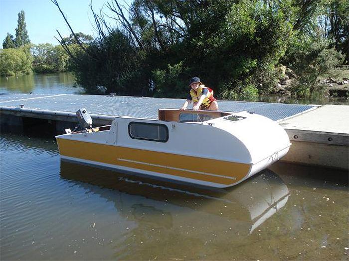 micro-camper converts into a boat