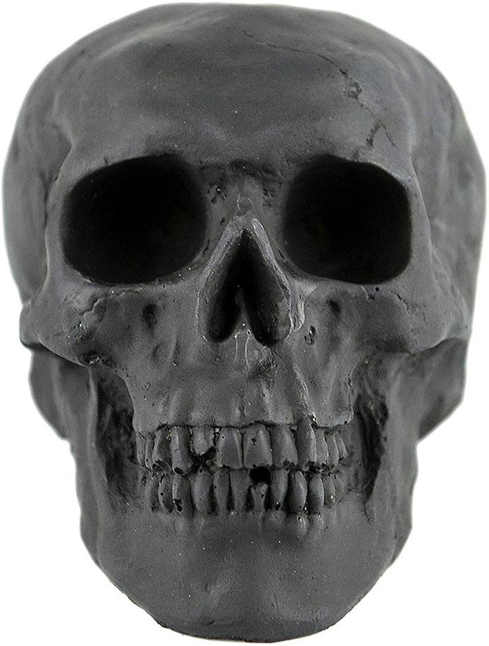 mini size black skull details