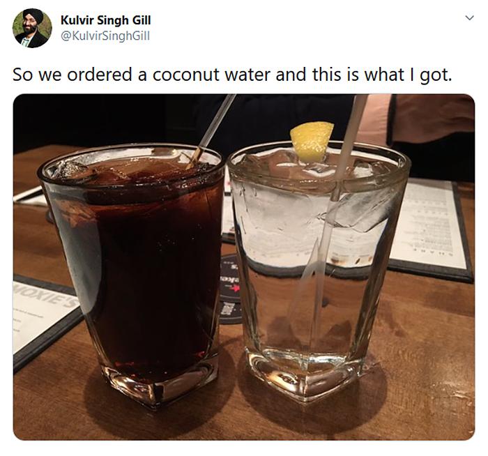 misunderstood order coconut water