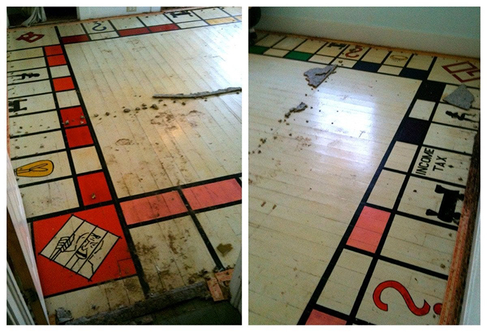 monopoly board discovered under a carpet