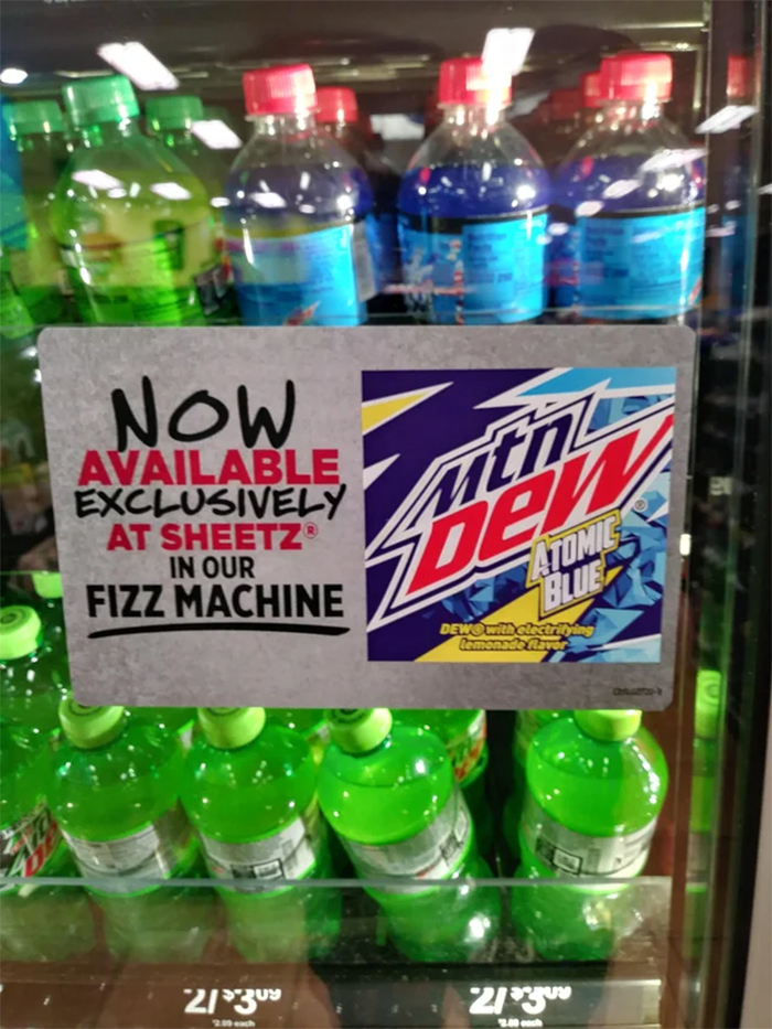 mountain dew atomic blue flavor sheetz sign