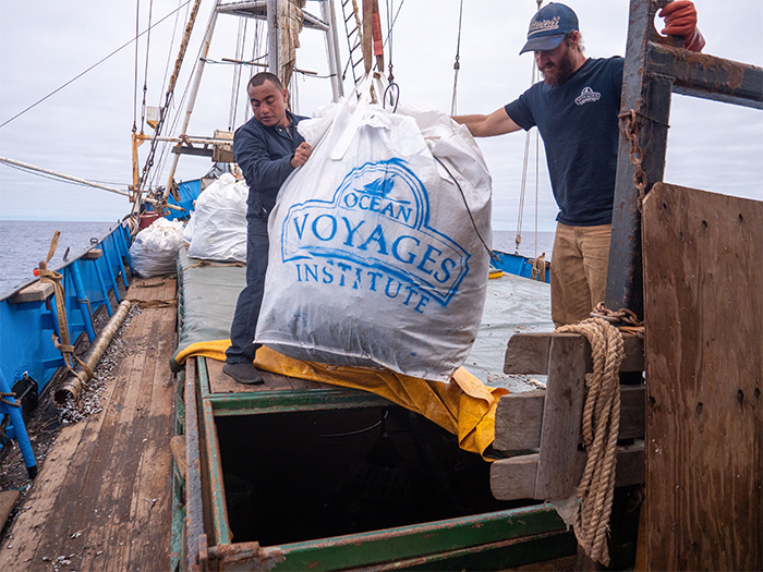 ocean voyages institute crew removes trash from the sea