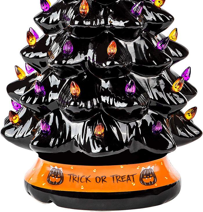 orange base of the black halloween tree