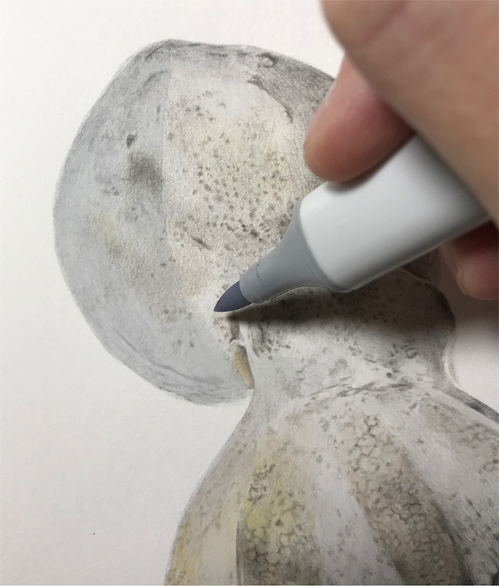 realisitc drawing step by step process copic marker