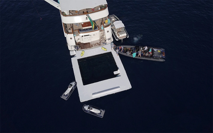sea pool attached to a yacht deck platform