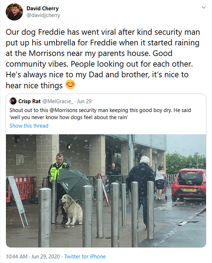 security guard shields dog from rain