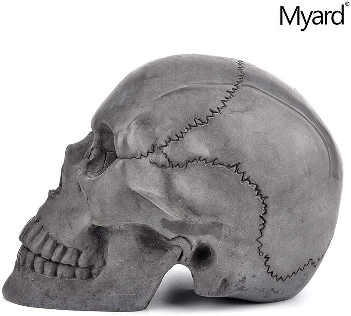 side view of black fireproof skull
