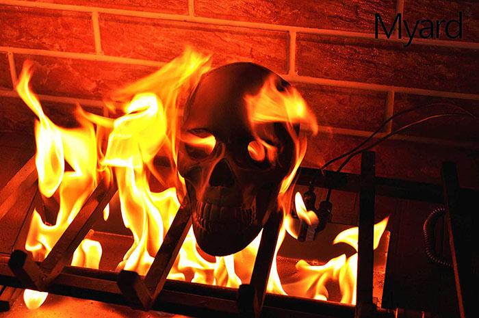 single skeleton in fireplace