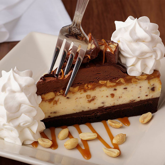 snickers cheesecake by the cheesecake factory