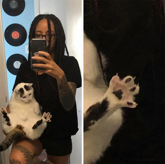 taking a selfie with murder mittens