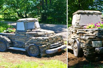 truck made out of rocks