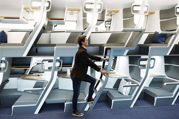 zephyr aerospace double-decker economy class airplane seat