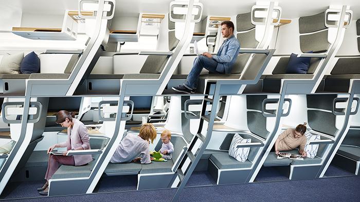zephyr aerospace double-decker seats on economy class plane