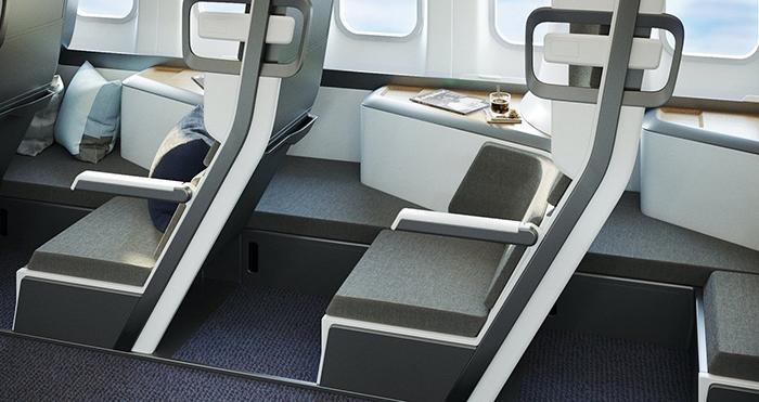 zephyr aerospace lie-flat seat designed for economy class travelers