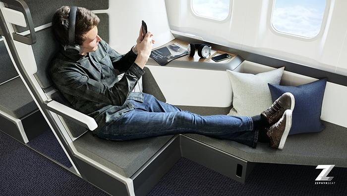 zephyr aerospace lie-flat seat for economy class travelers